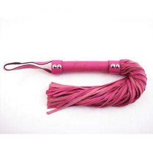 Flogger de cuero en color rosa