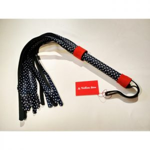 Flogger artesanal y exclusivo en piel tintado en azul