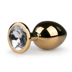 Plug metálico - joya anal Dorado-Transparente