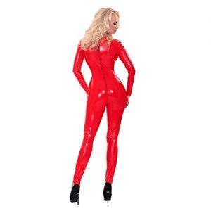 Mono rojo de latex CATSUIT mangas largas