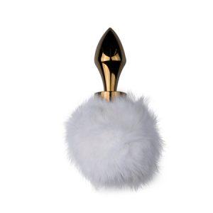 Plug cola de conejo color Dorado y Blanco