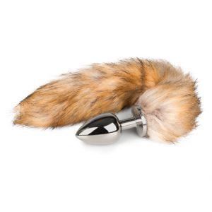 Plug cola de zorro grande color Plateado