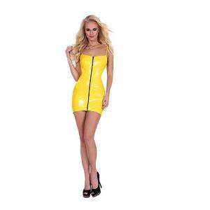 Vestido corto de latex amarillo