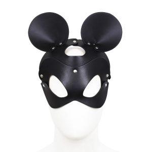 Máscara ratón en cuero negro