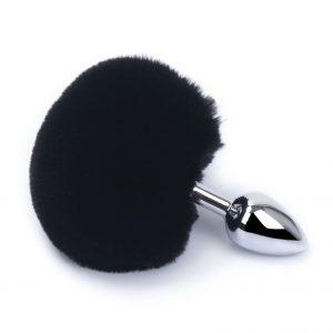 Plug cola de conejo color Negro-Plata