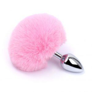 Plug cola de conejo color Rosa-Plata